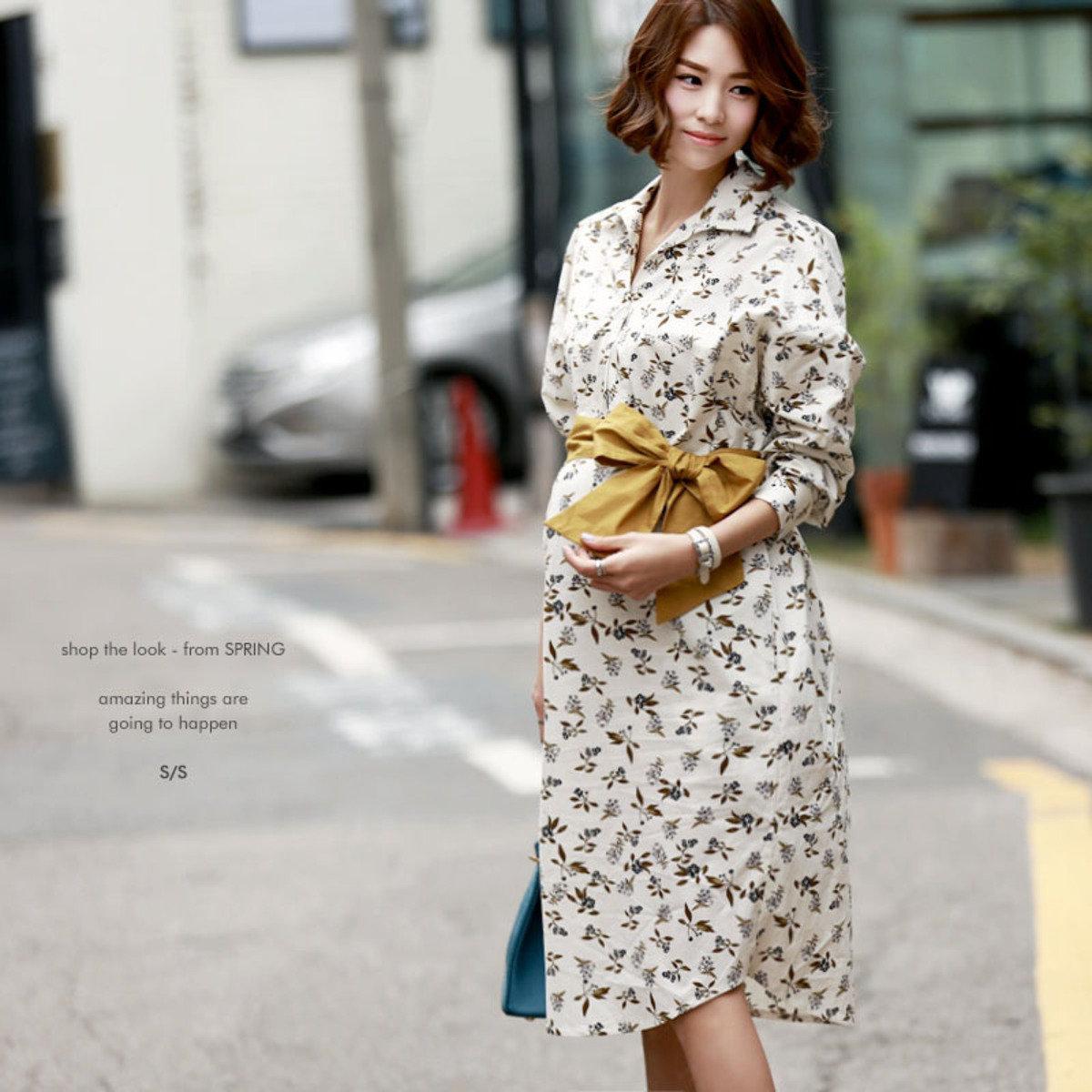 D-3775 _配腰帶反領印花圖案連身裙 (孕婦裝)