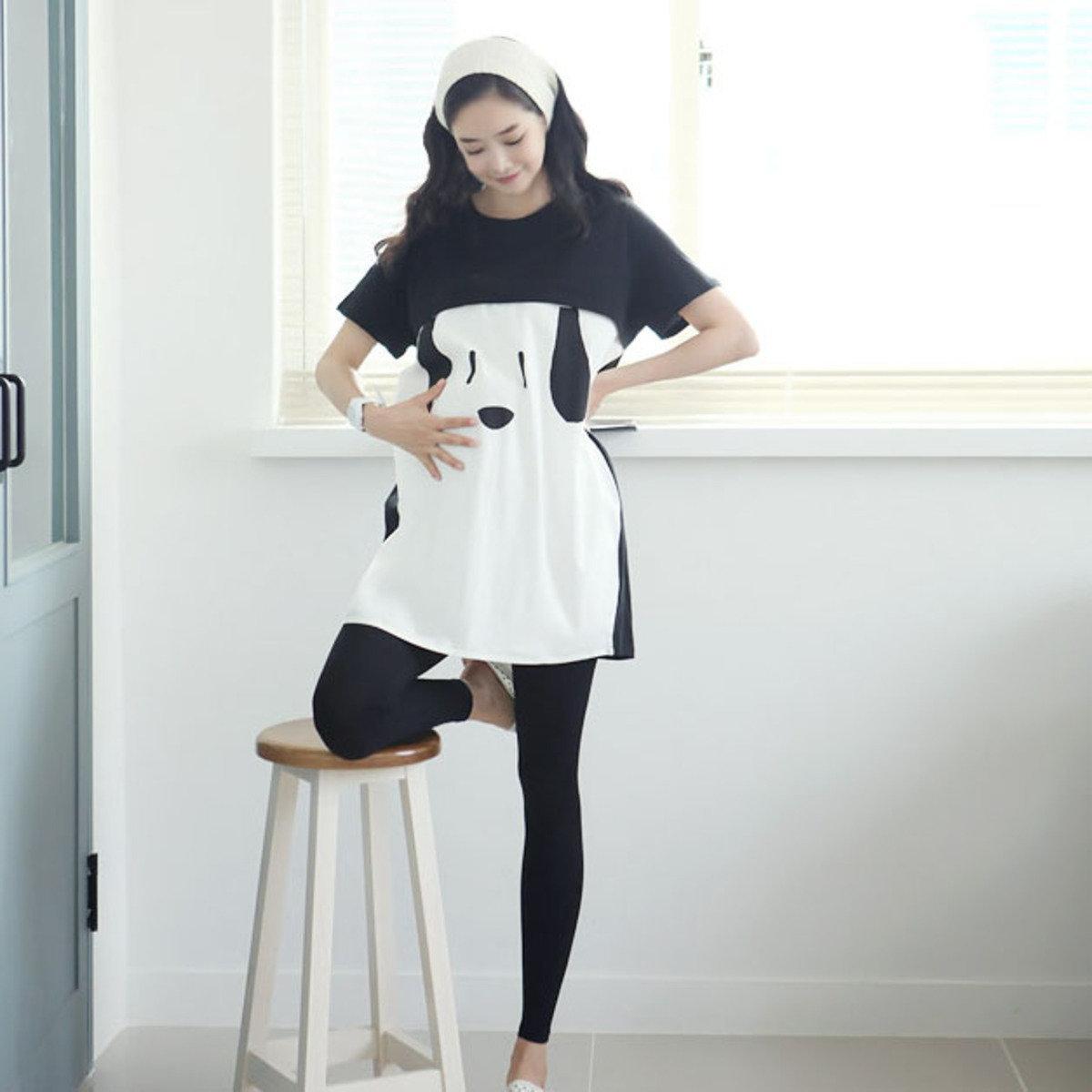 H-869_狗臉圖案拉鏈哺乳上衣 (孕婦裝)
