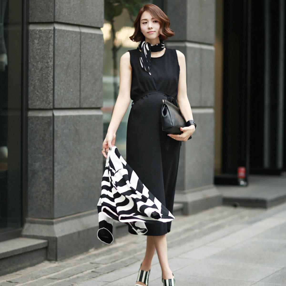 D-3784_配腰帶背心連身裙 (孕婦裝)