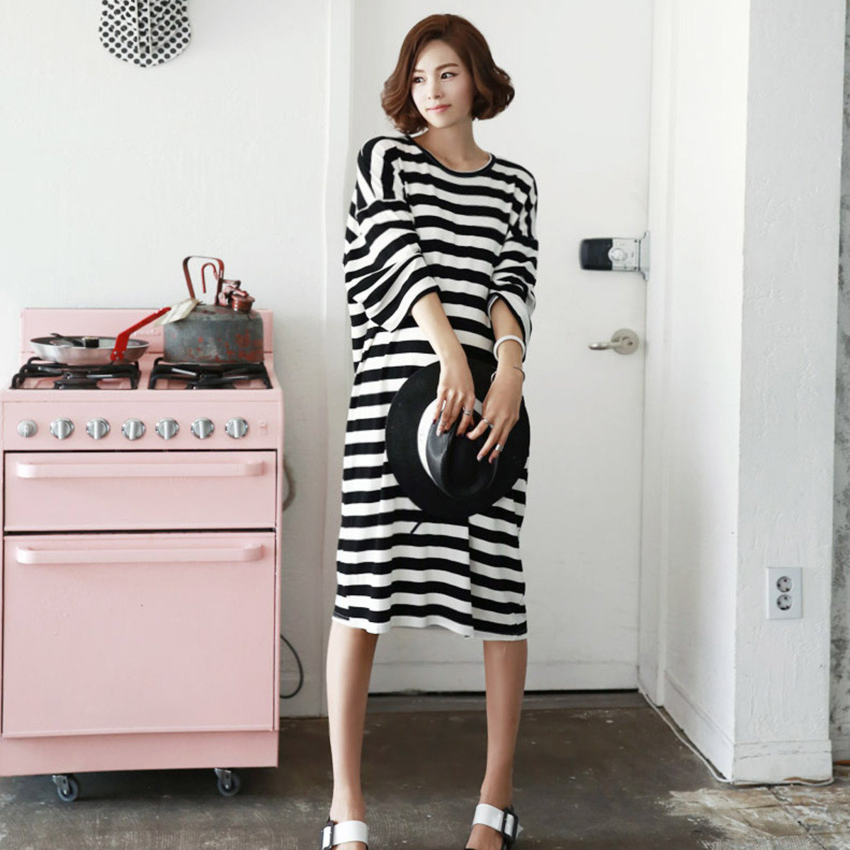 D-3782_闊條紋連身裙 (孕婦裝)