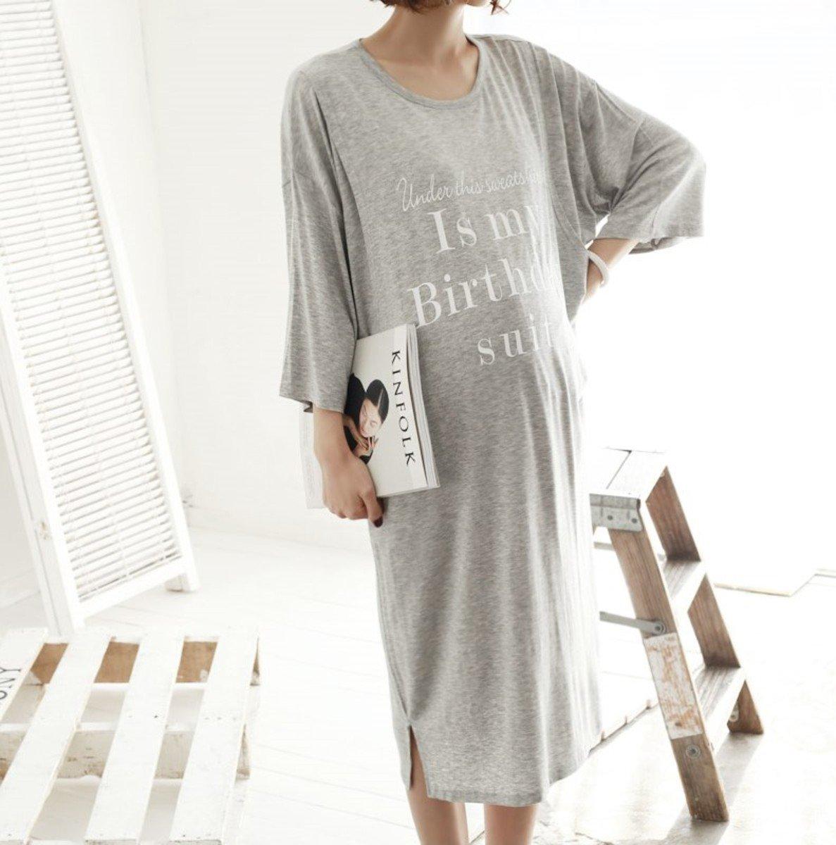 H-1154_側開裂縫印字哺乳連身裙 (孕婦裝)