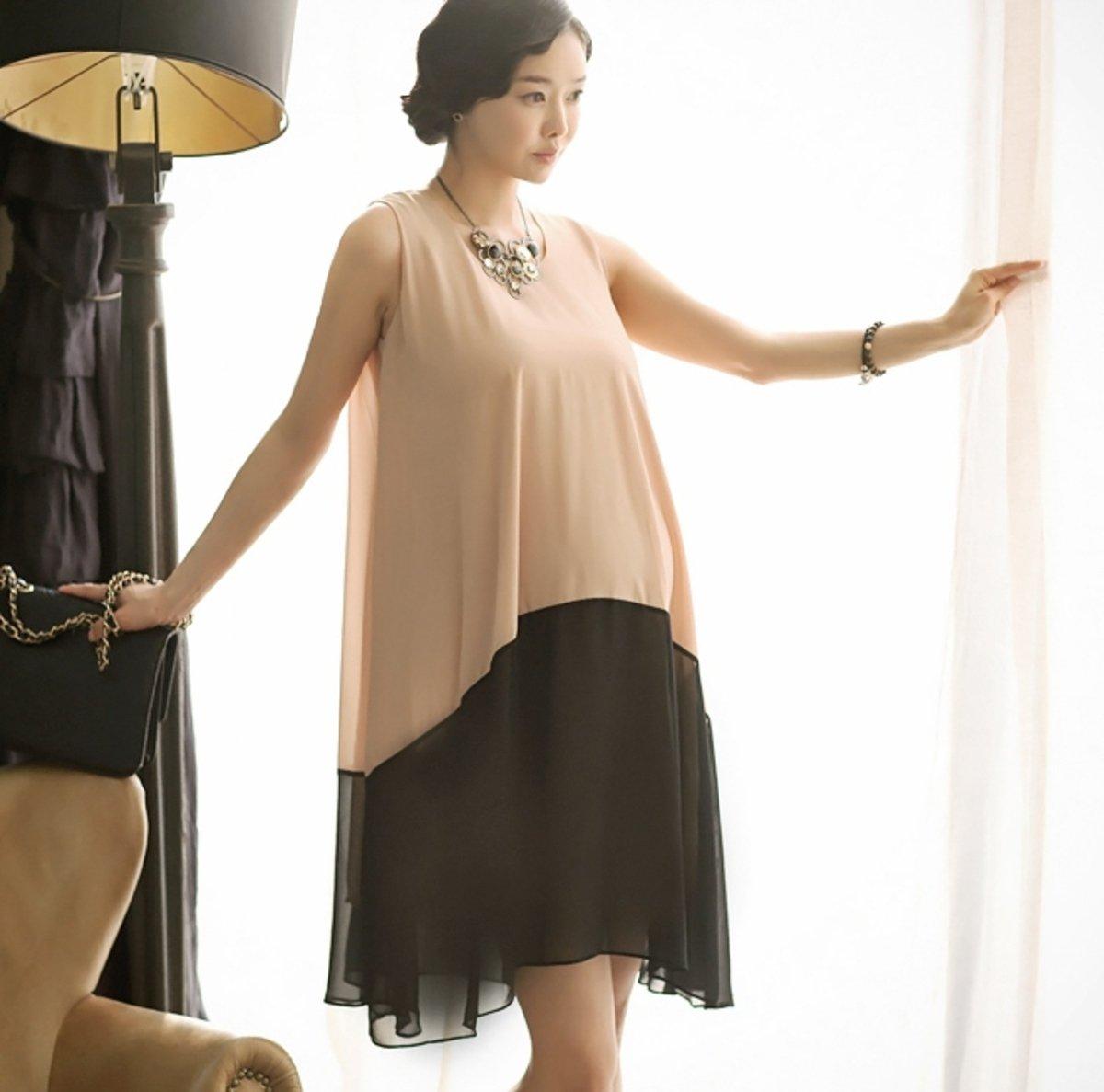 D-1880_BLK_配腰繩拼色背心連身裙 (孕婦裝)