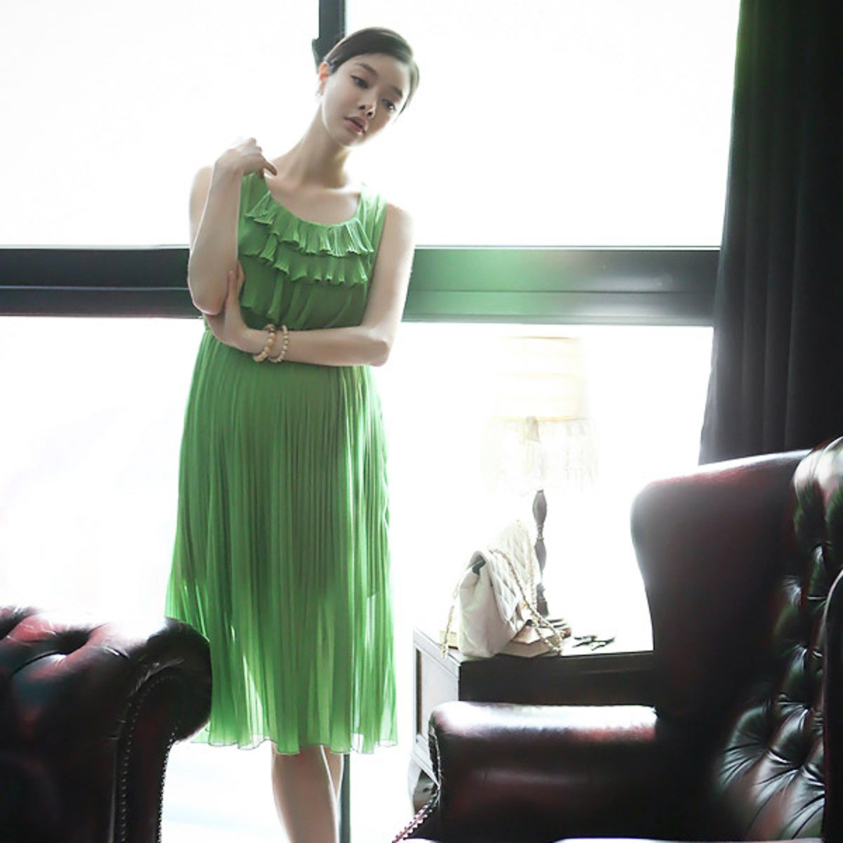 D-2109_百褶背心連身裙 (孕婦裝)