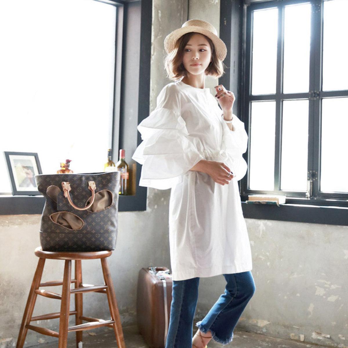 D-3778_層層袖束腰繩連身裙(外套) (孕婦裝)