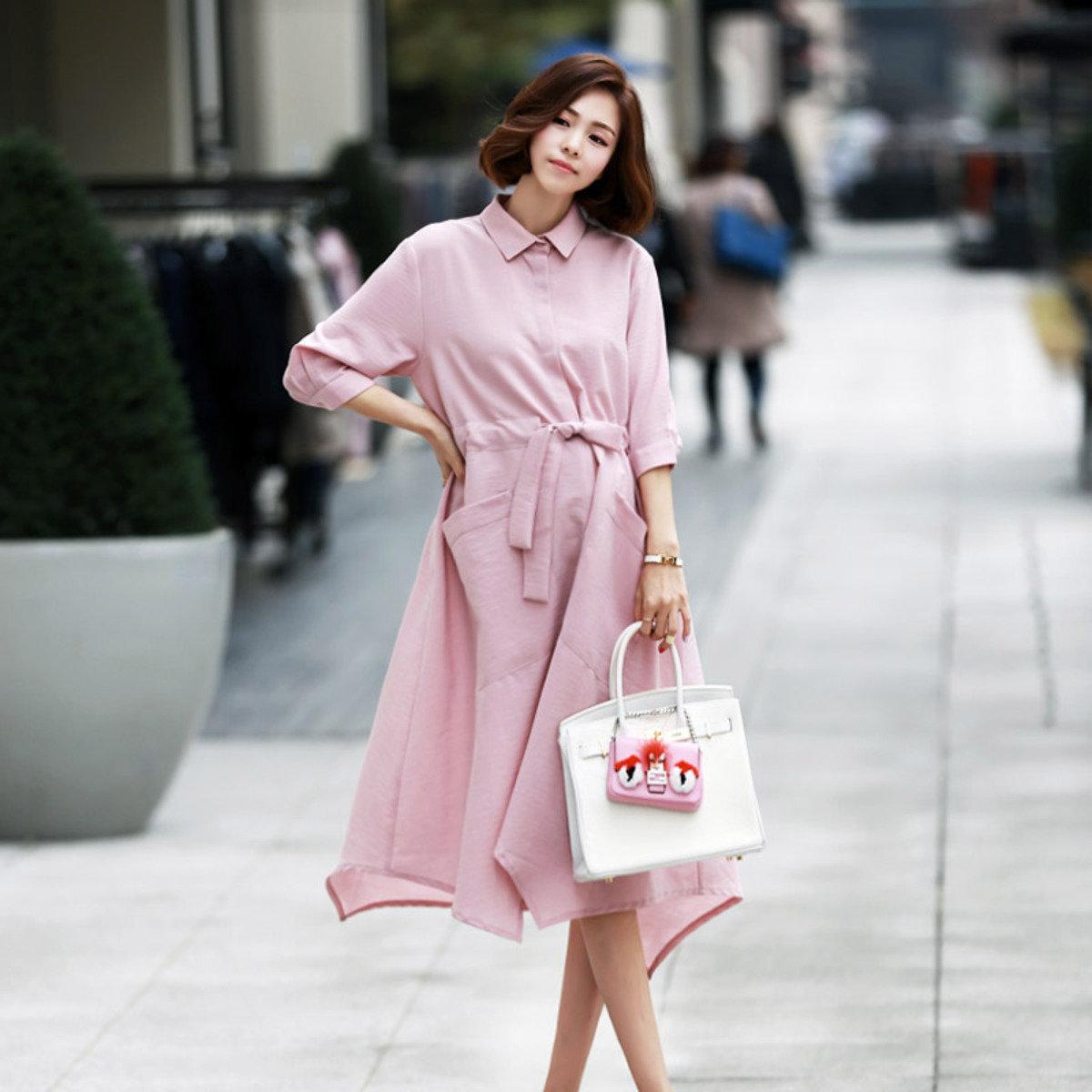 D-3793_反領雙袋束腰帶連身裙 (孕婦裝)