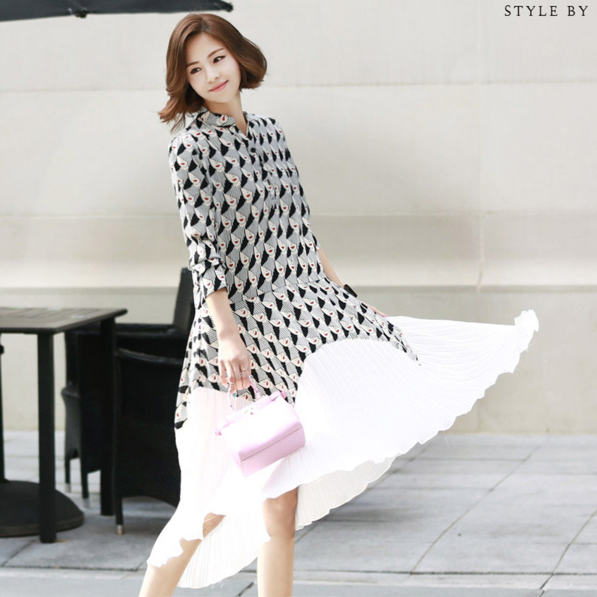 D-3790_人臉圖案百褶腳連身裙 (孕婦裝)