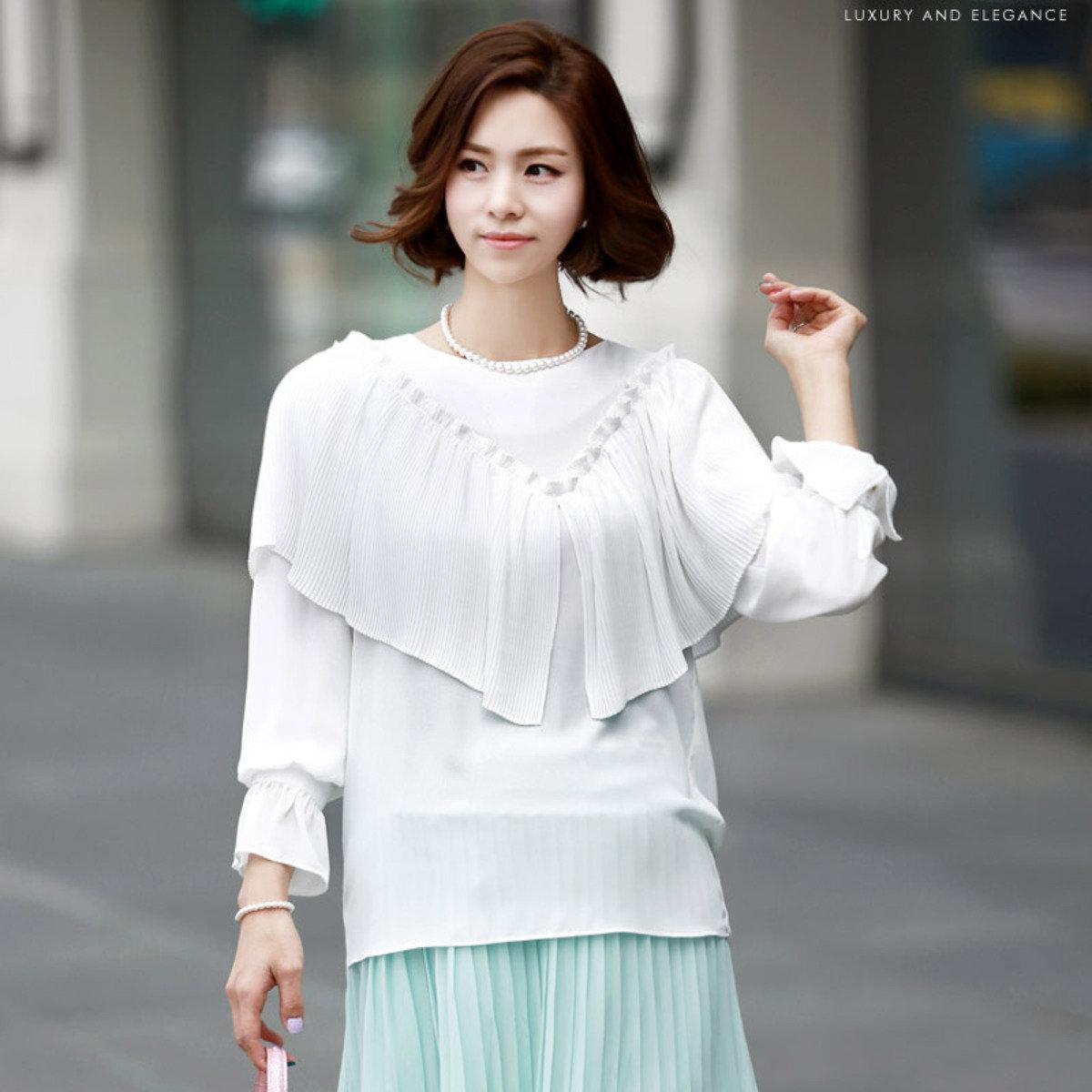 B-826_百褶肩設計襯衫 (孕婦裝)