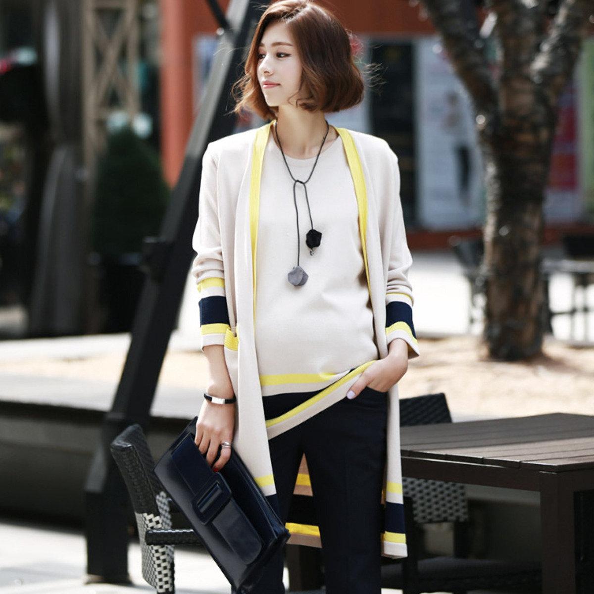 J-3983_拼色條紋針織外套