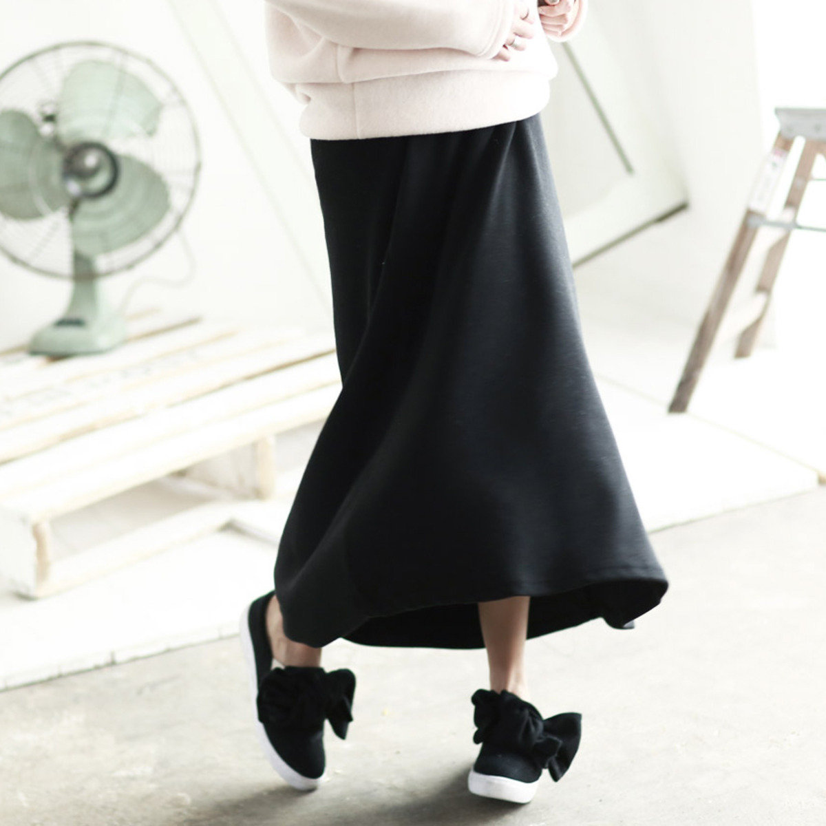 SK-379_束腰繩闊腳半截裙 (孕婦裝)