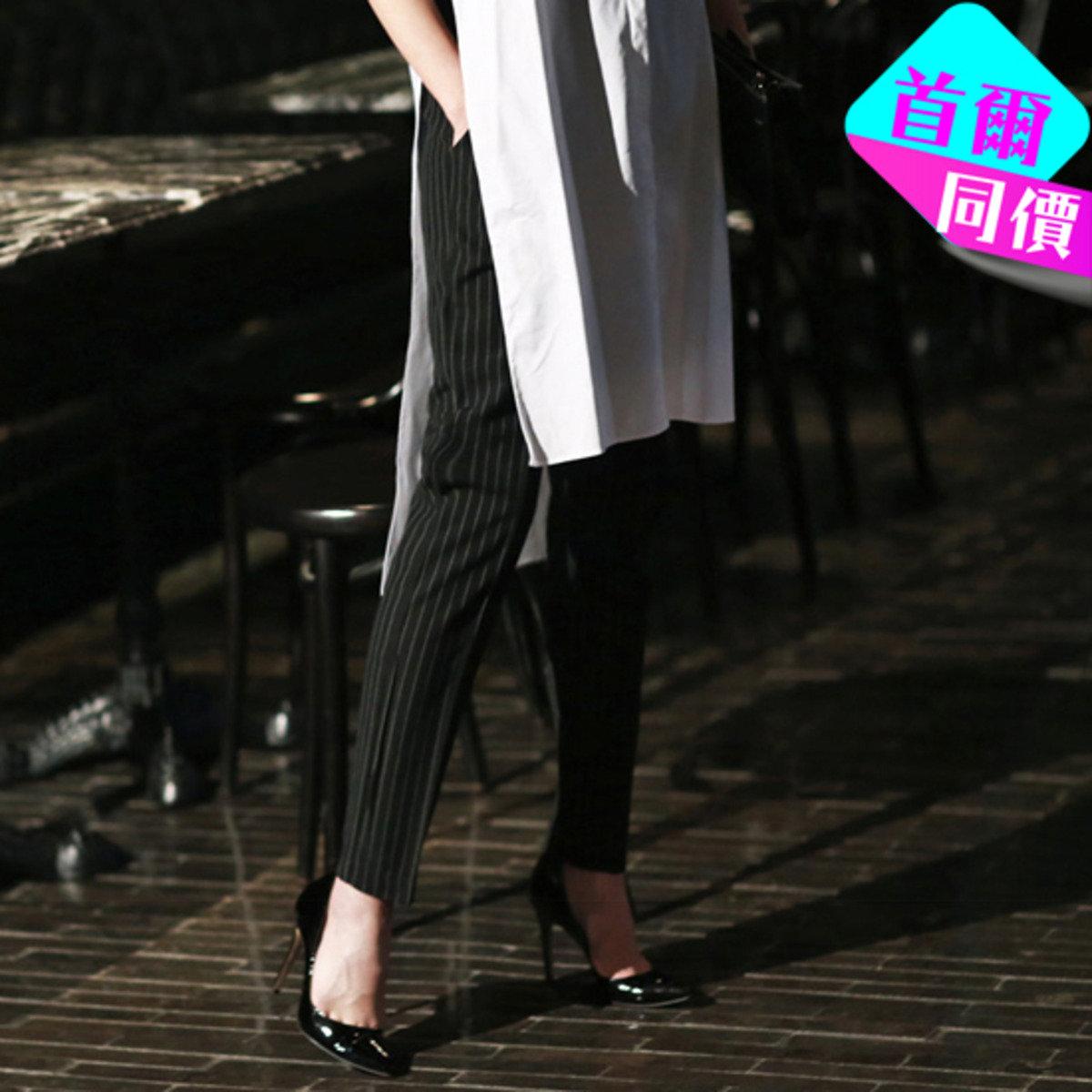 P-1501_束腰繩直條子長褲 (孕婦裝)