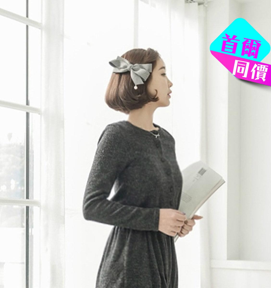 綴珠蝴蝶結髮夾_JA0239_GRY