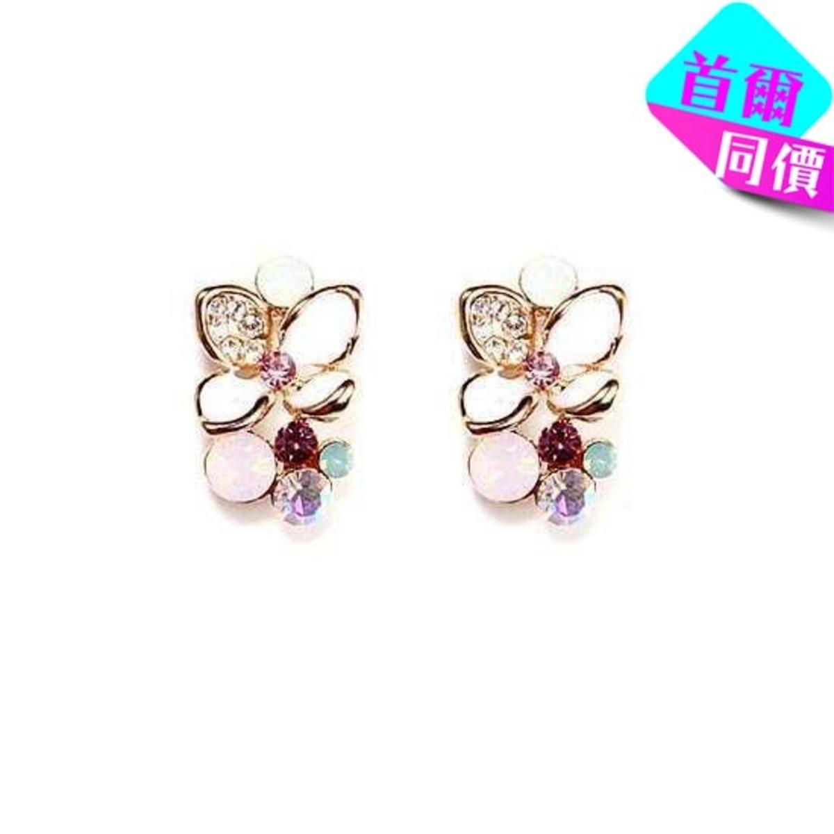 花朵鑲彩石耳環