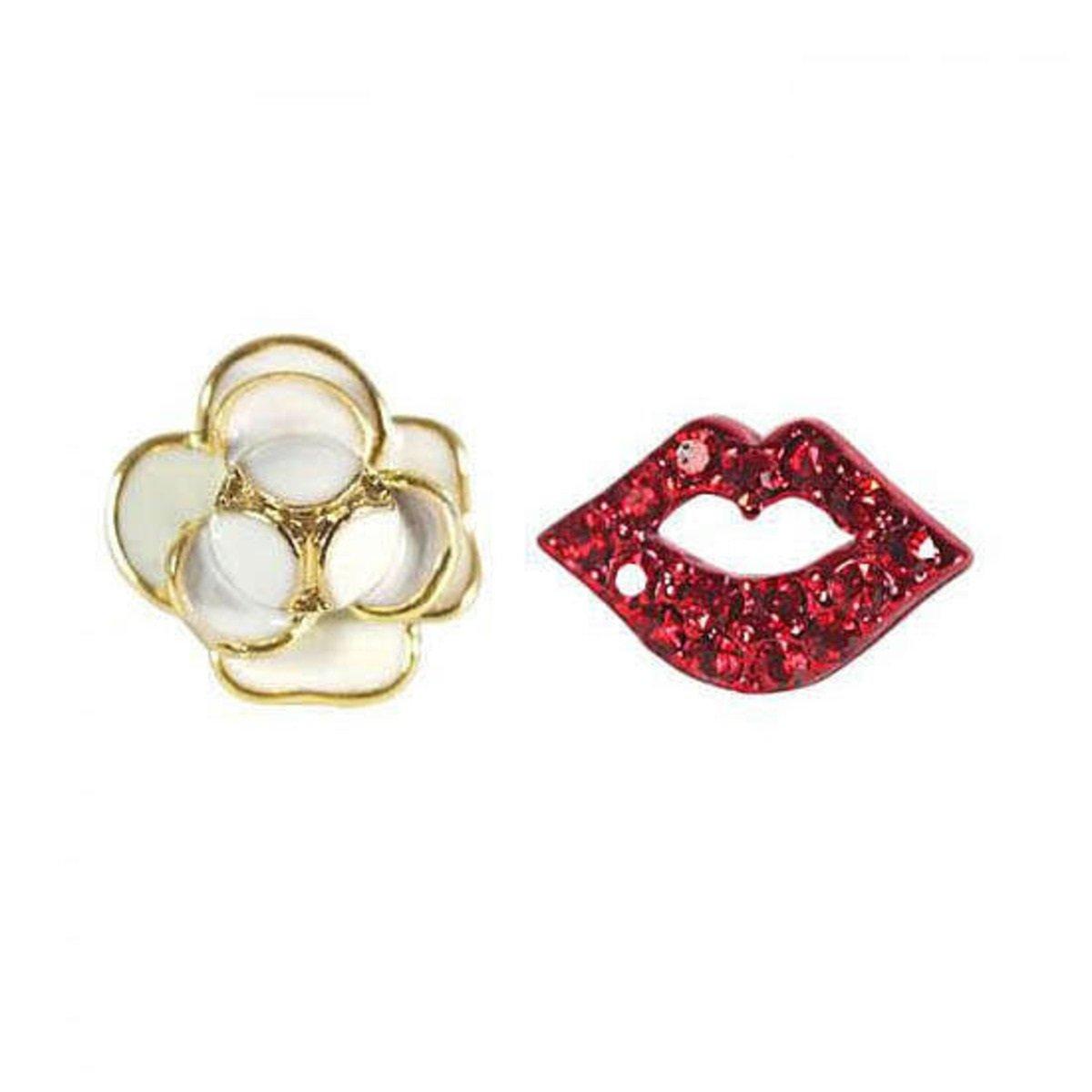 花朵紅唇不對稱耳環
