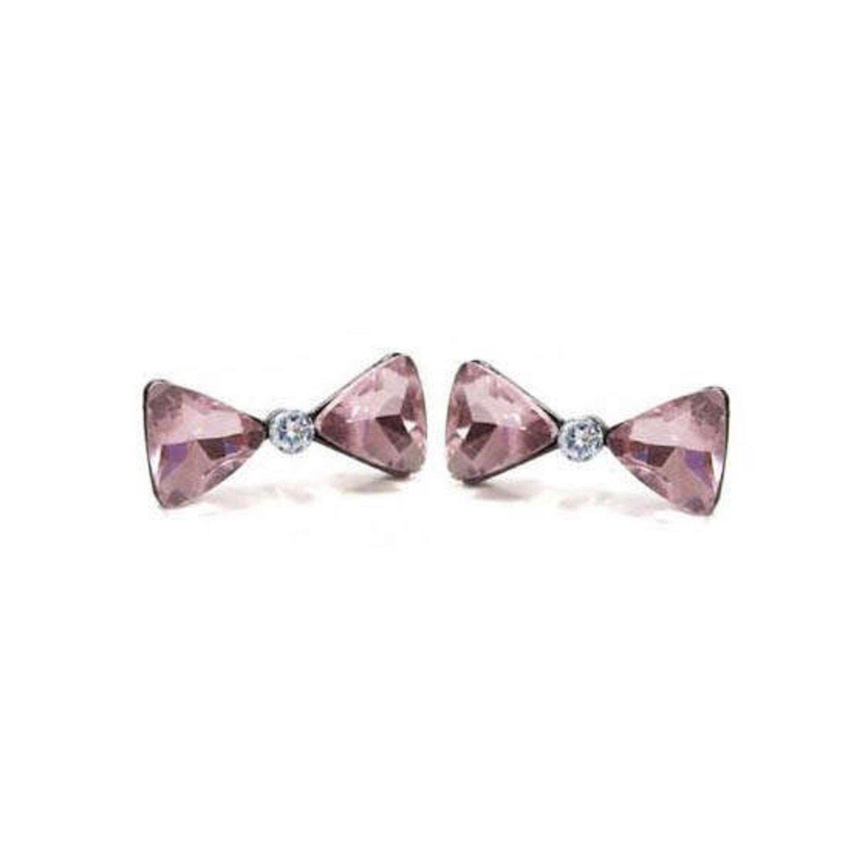 蝴蝶結水晶耳環