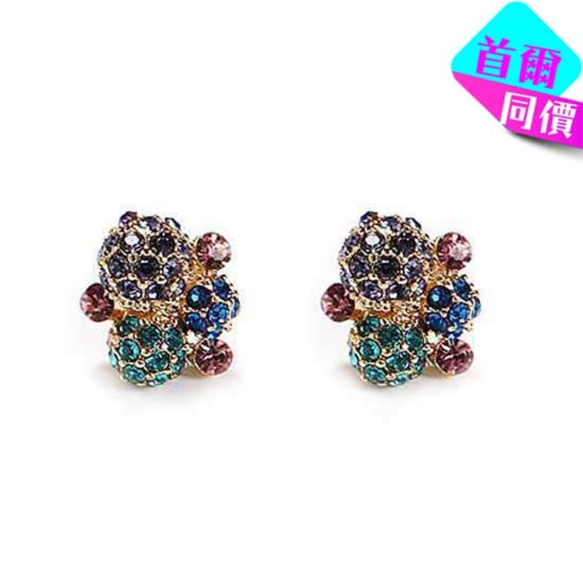 彩色鑲石耳環