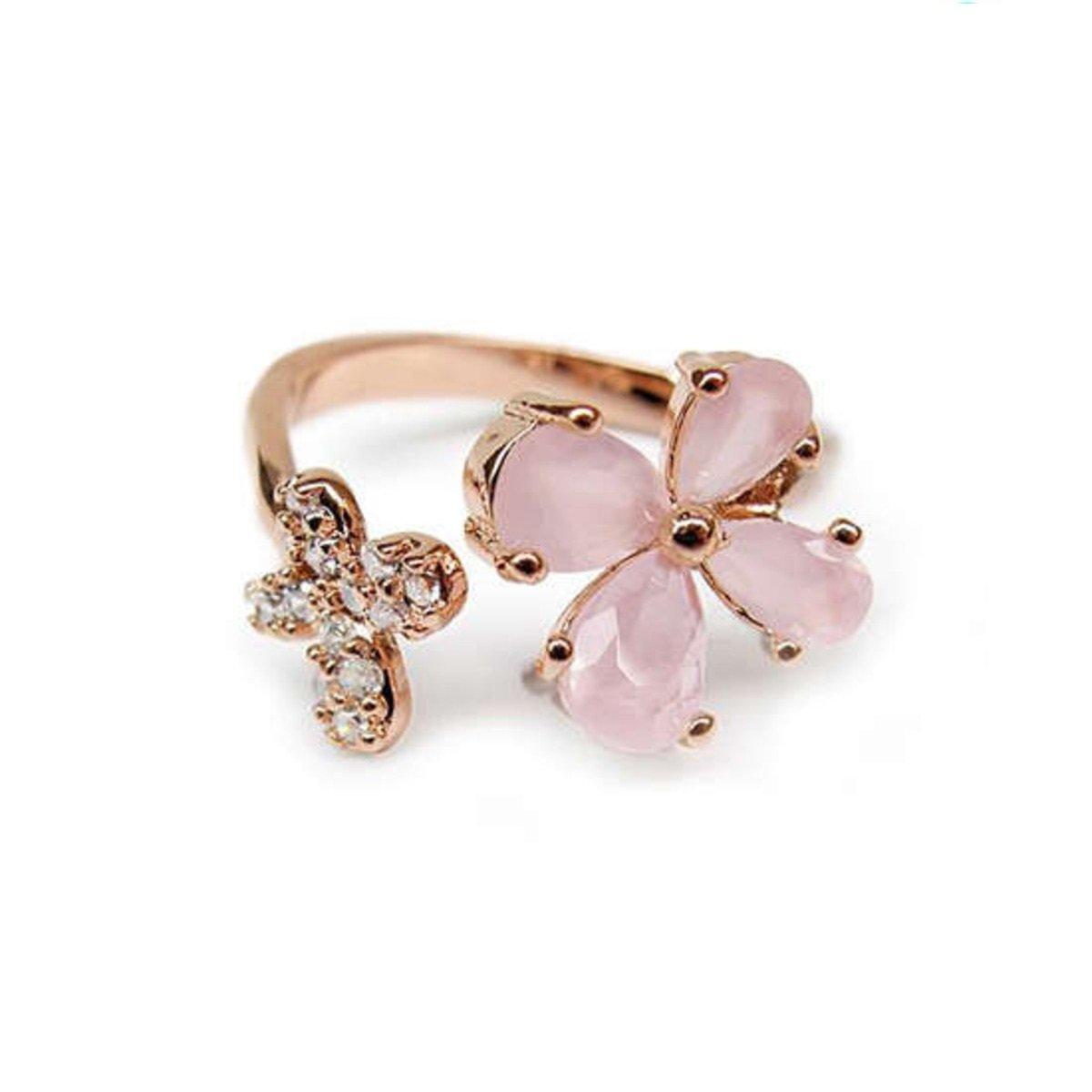 雙花朵鑲石戒指