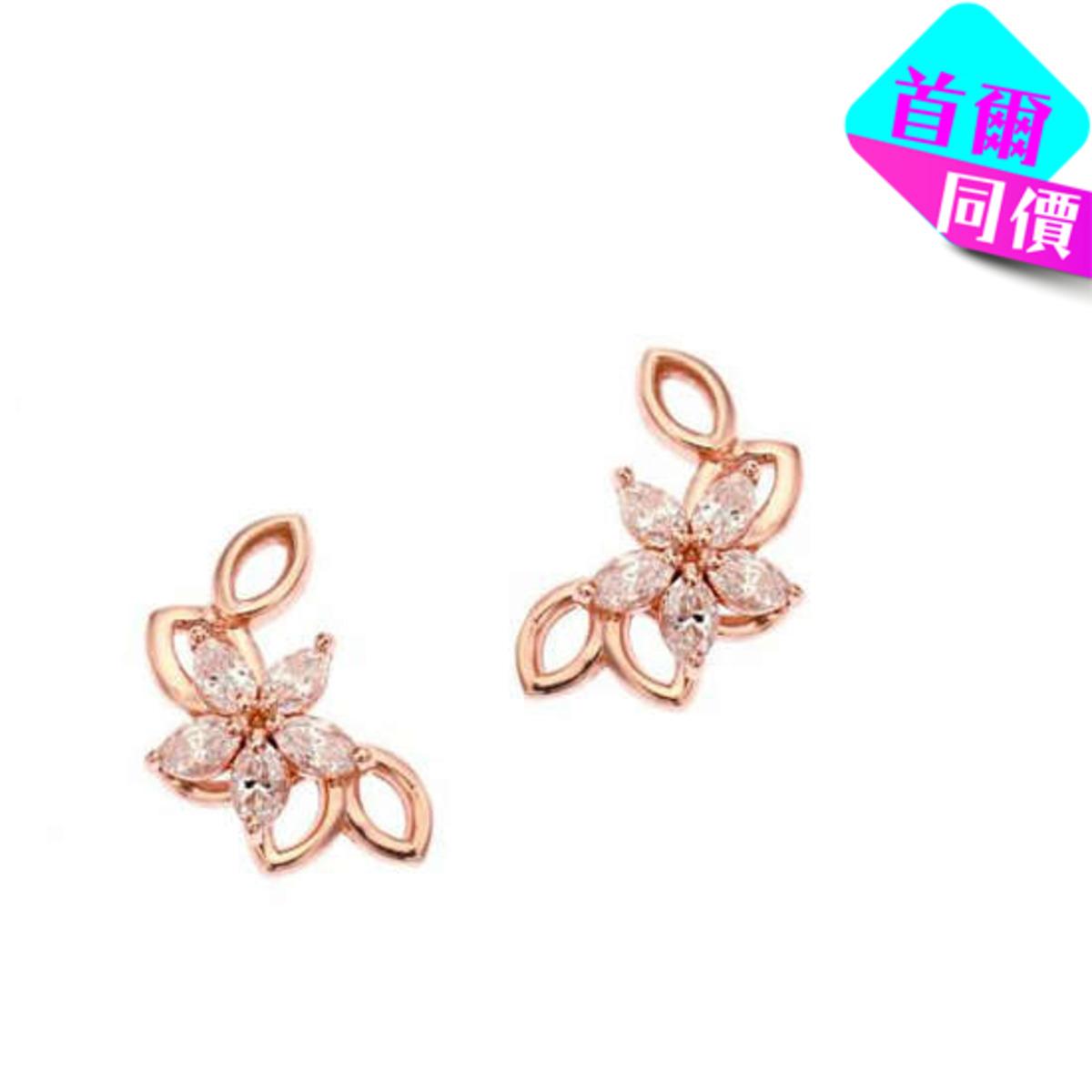 14K鋯石花形耳環(3色)