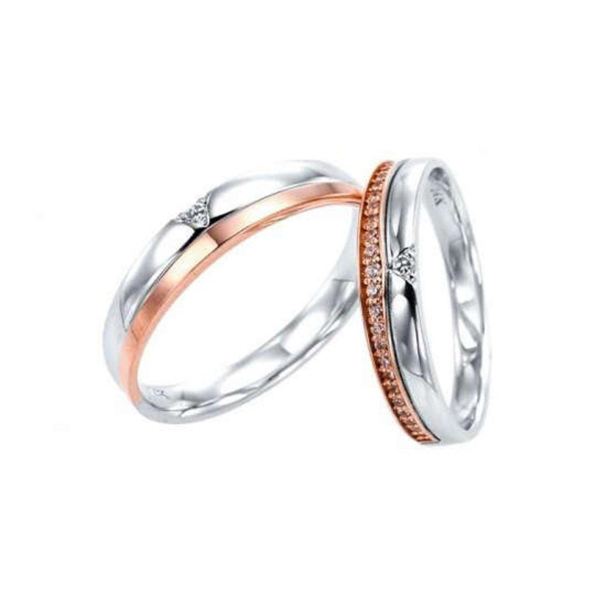14K 拼色切割鑲石情侶戒指 (男款)