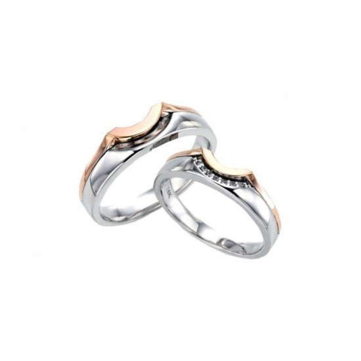 14K 雙色彎紋情侶戒指 (女款)