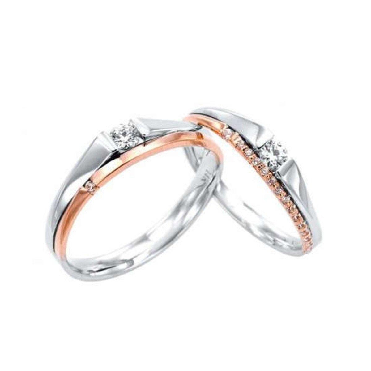 14K 拼玫瑰金鑲石情侶戒指 (女款)