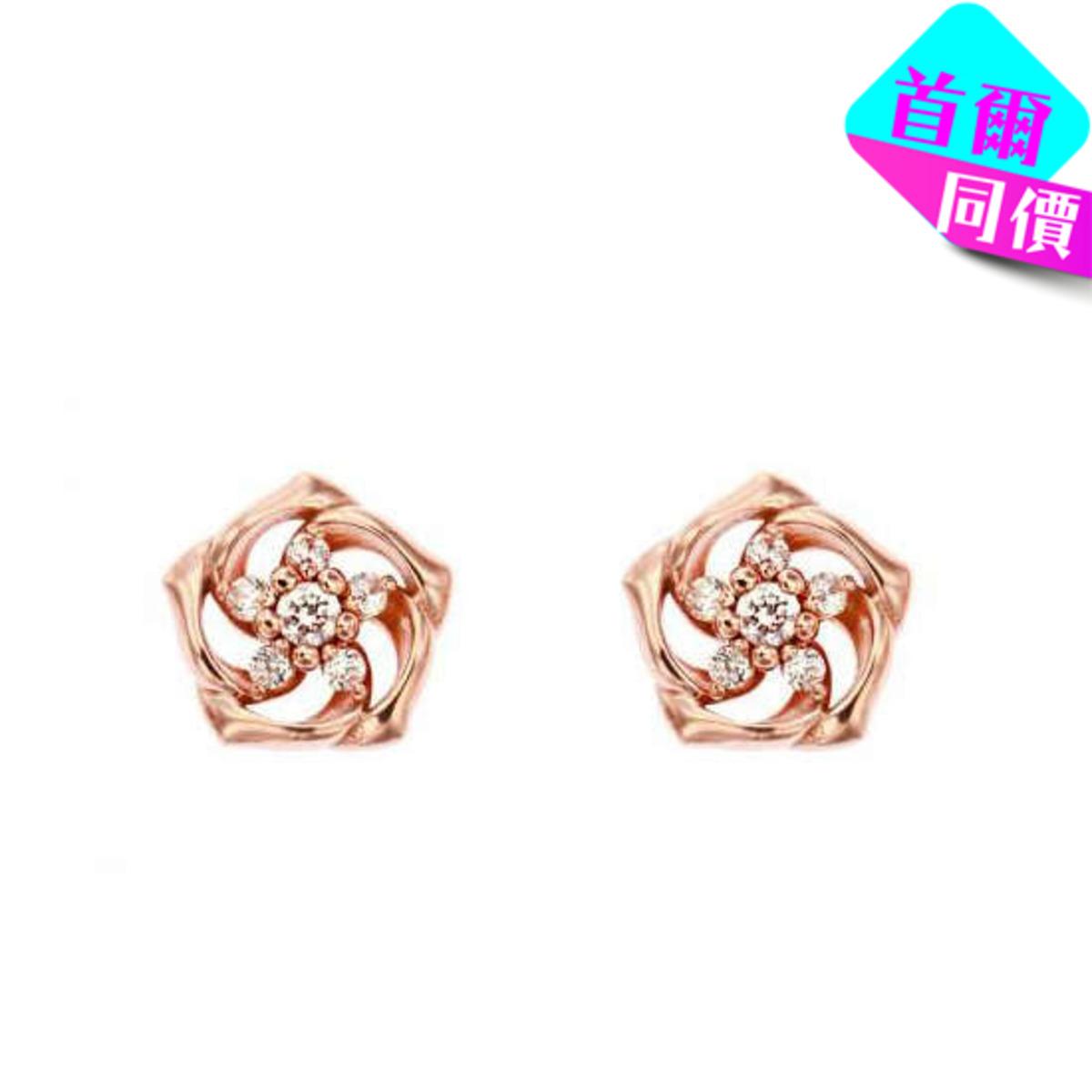 14K鋯石螺旋花形耳環(3色)