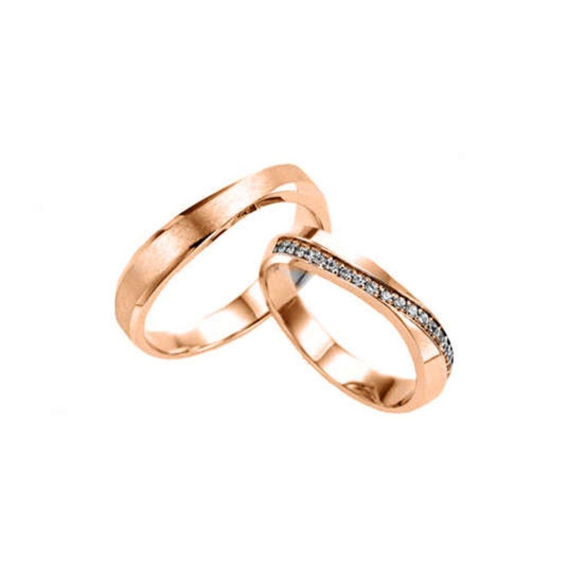 14K 簡約彎曲線條鑲石情侶戒指 (女款)
