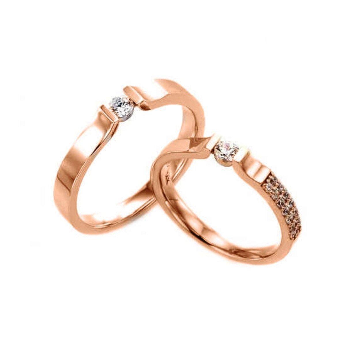 14K 簡約鑲石情侶戒指 (男款)