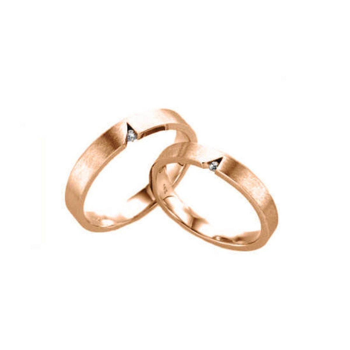 14K 簡約切割鑲石情侶戒指 (女款)