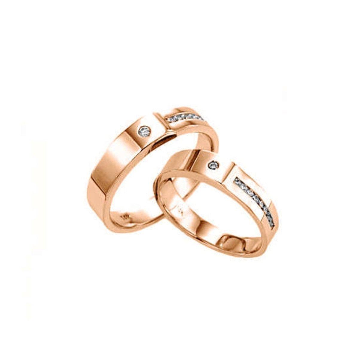 14K 不對稱鑲石情侶戒指 (男款)