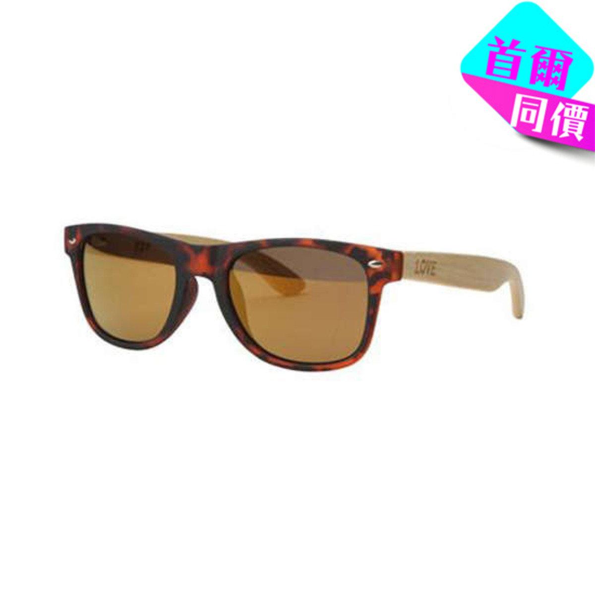 MATTE LEOPARD - 啡色豹紋框竹柄太陽眼鏡
