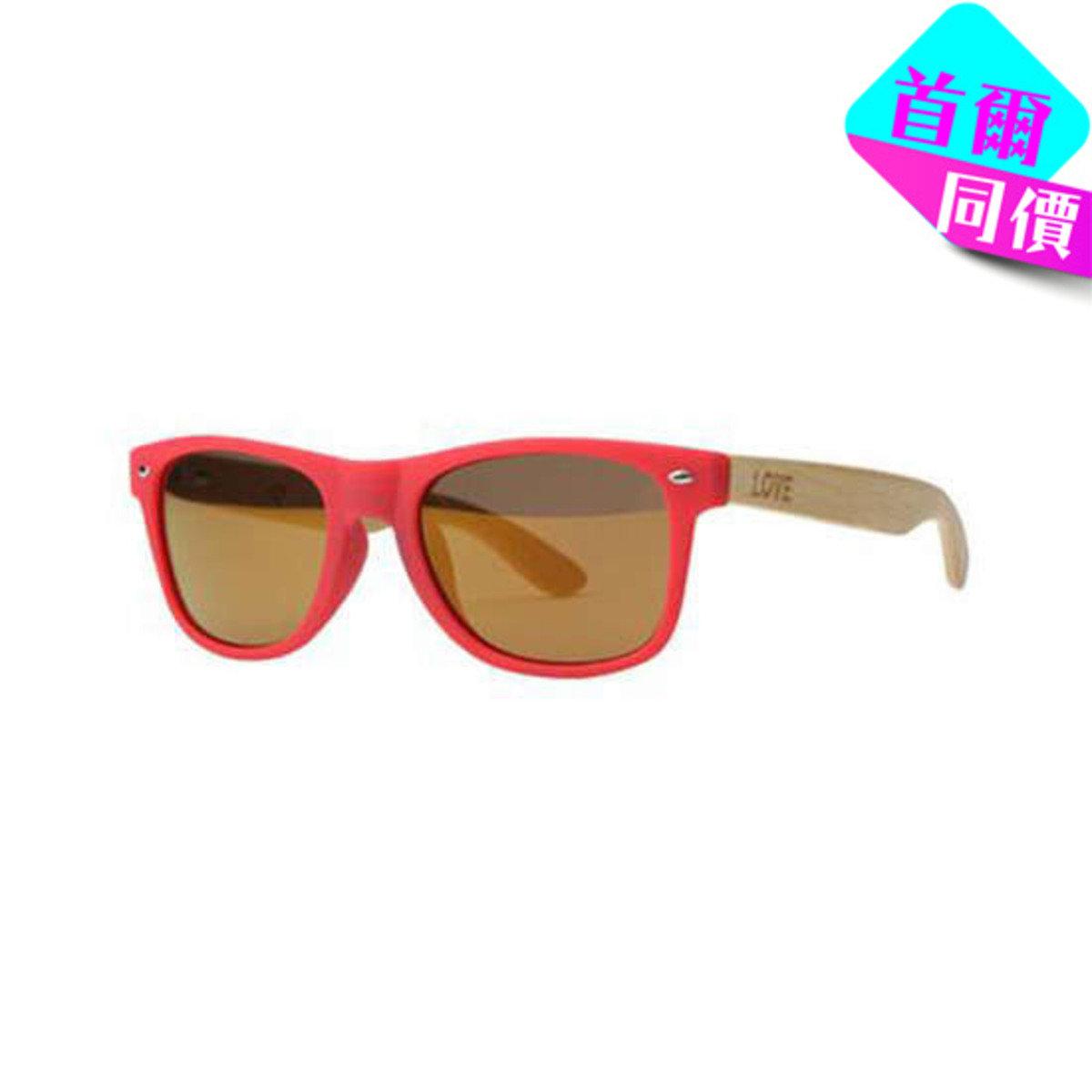MATTE SCARLET - 紅色框竹柄太陽眼鏡