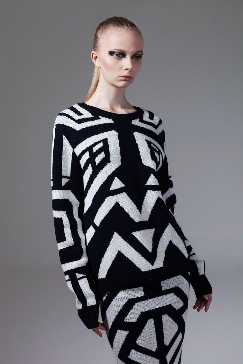 黑色幾何圖案針織衫