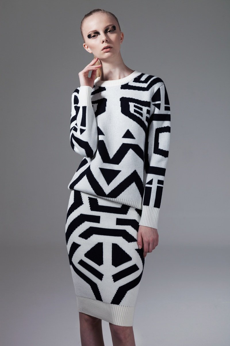 白色幾何圖案針織衫
