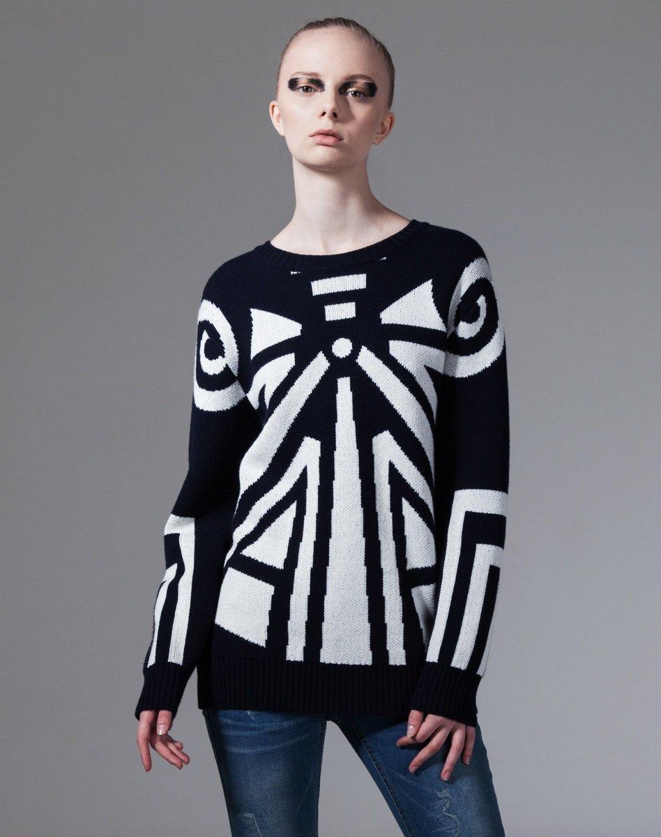 黑色幾何圖案2針織衫