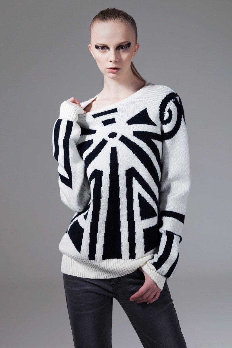 白色幾何圖案2針織衫