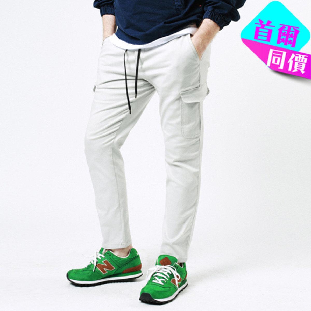橡根腰款純色休閒褲P000CSDQ