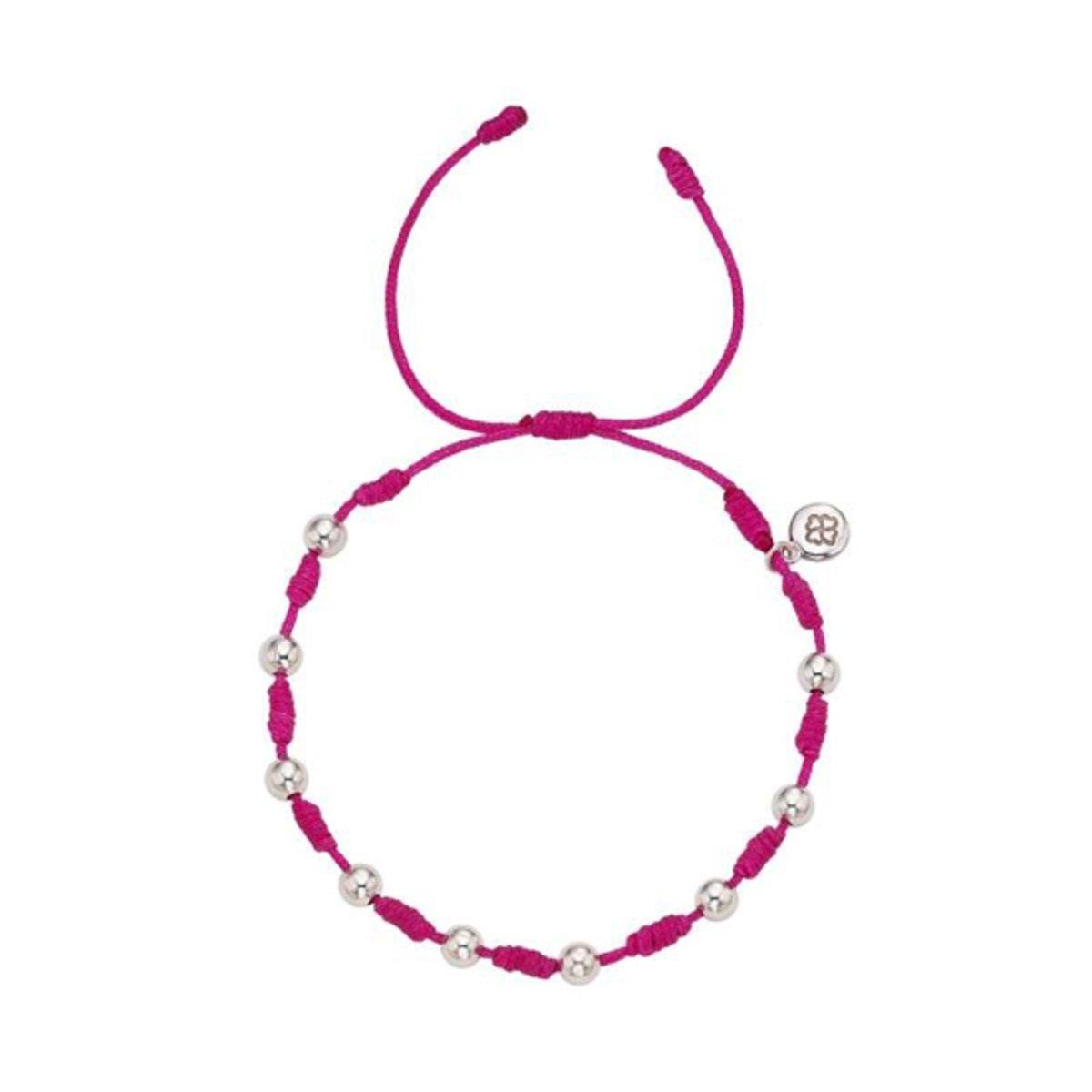 幸運手繩 (銀珠版) (深粉紅色)