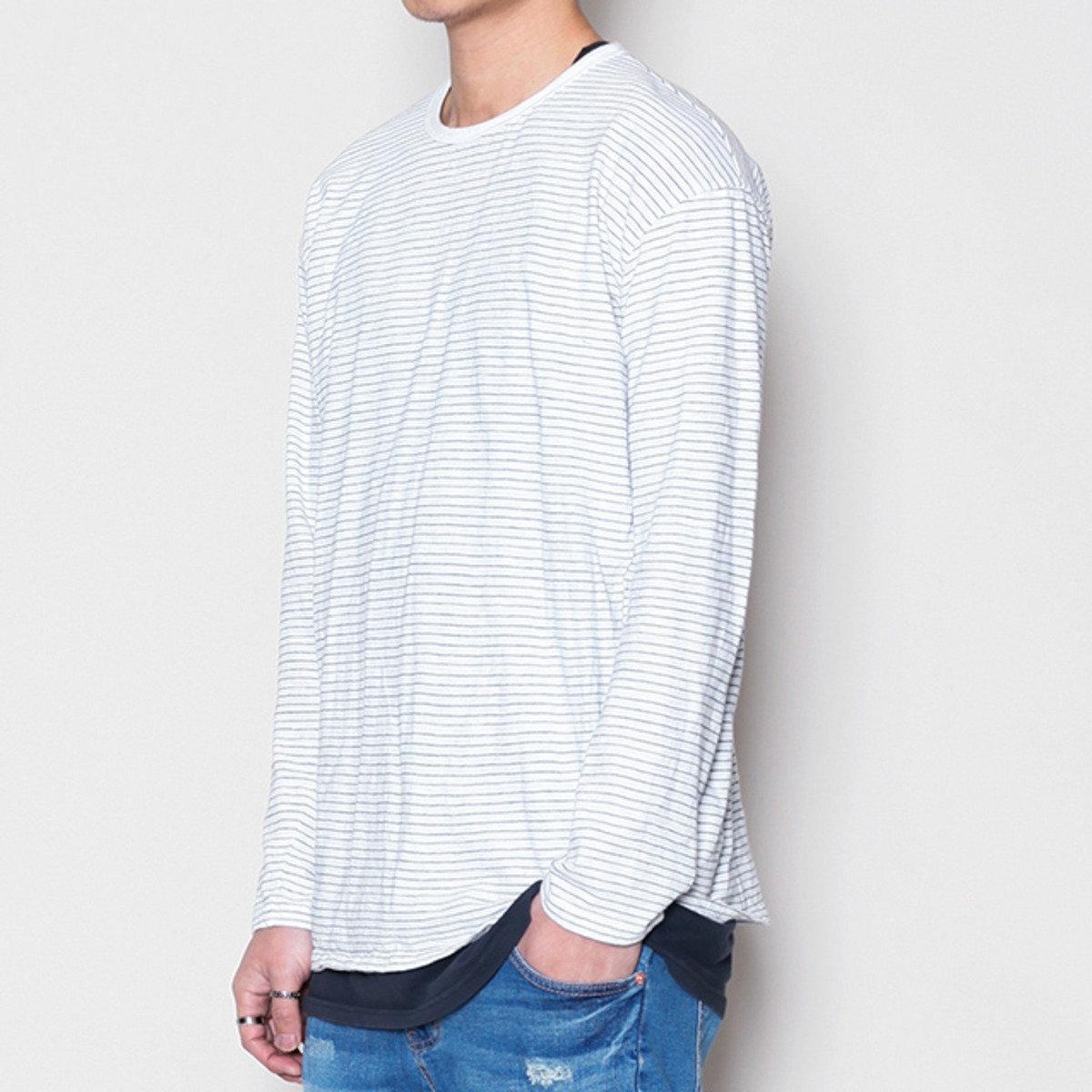 橫條紋圓領T恤_13528