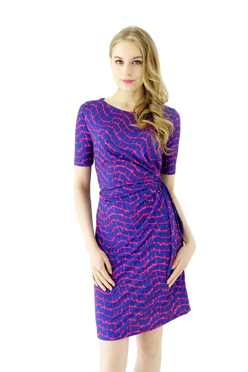圓領褶皺連身裙(紫藍色)