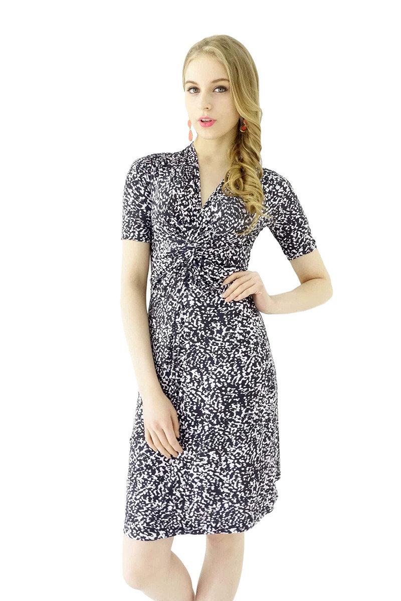 扭紋連身裙(深藍色)