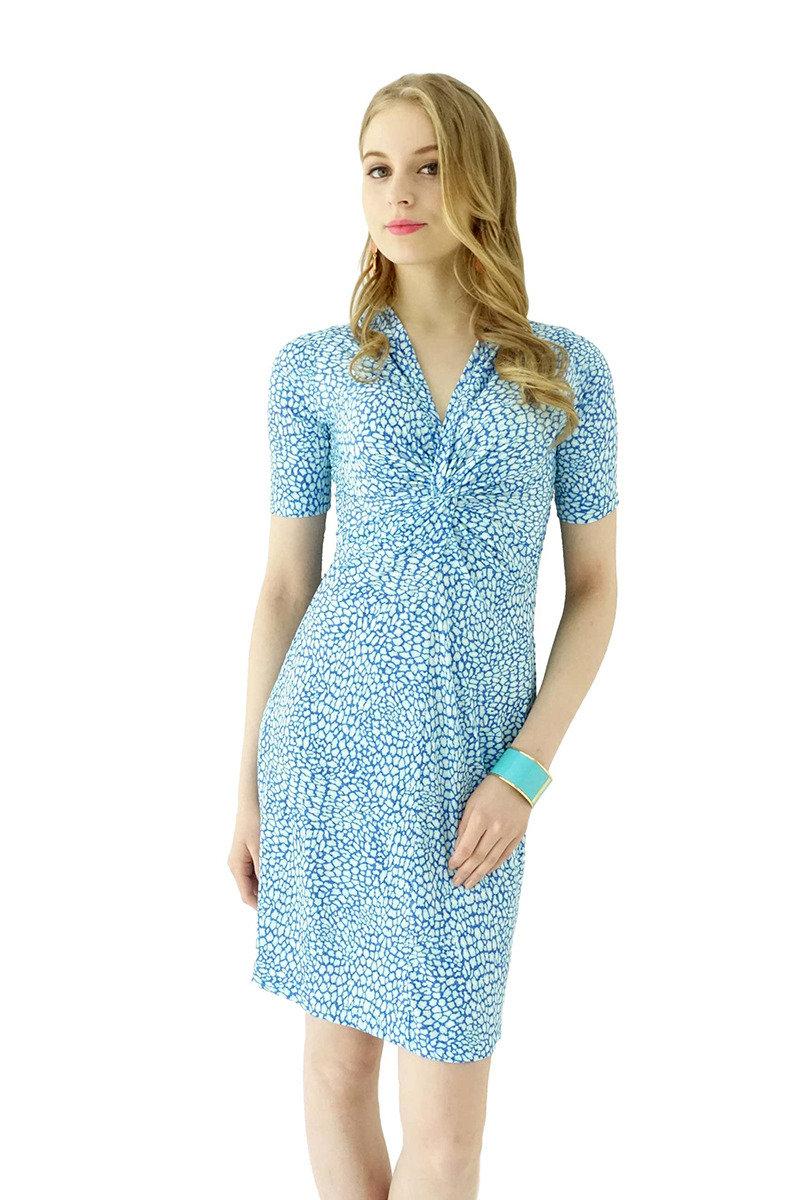 扭紋連身裙(淺藍色)