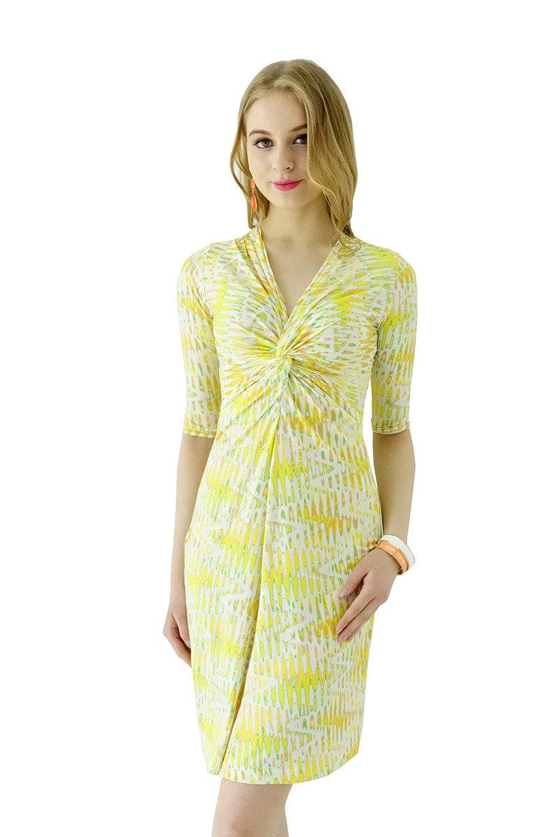 扭紋連身裙(黃色)