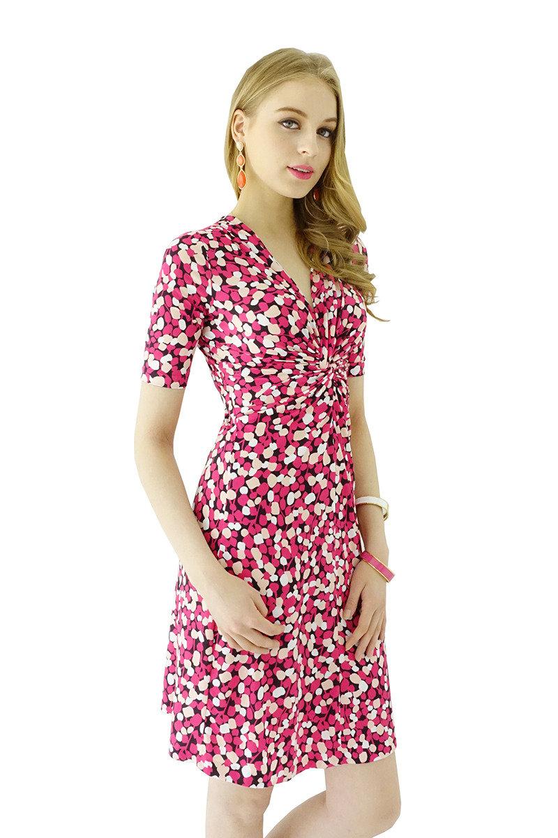 扭紋連身裙(紅色波點)