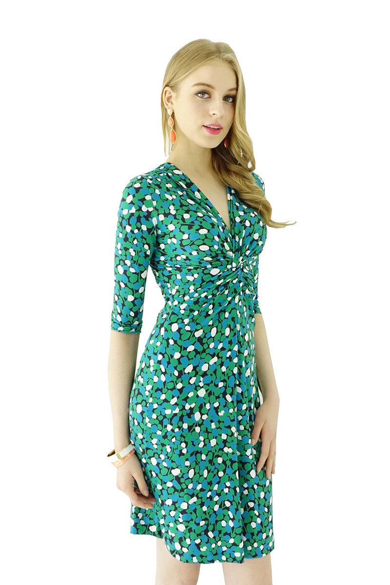 扭紋連身裙(綠色波點)
