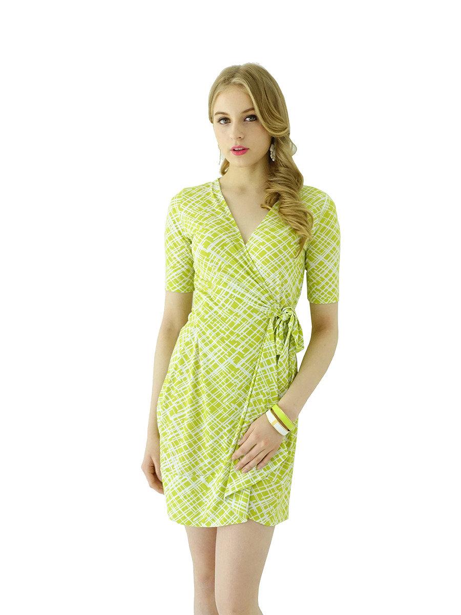 半袖皺邊裹身裙(黃色)
