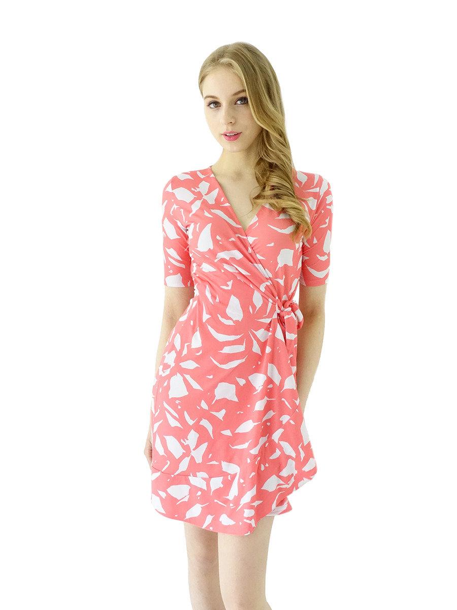 半袖皺邊裹身裙(粉紅色)