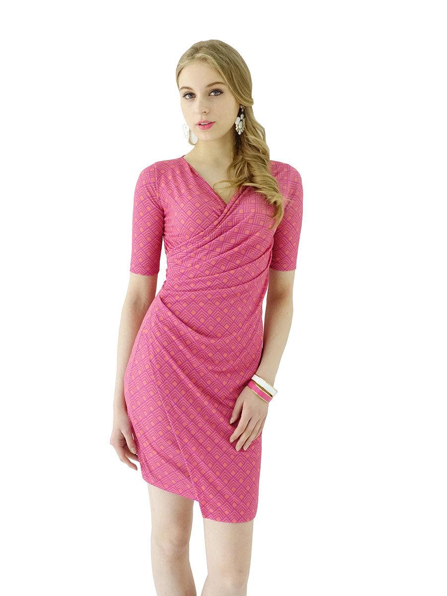 V領褶皺連身裙