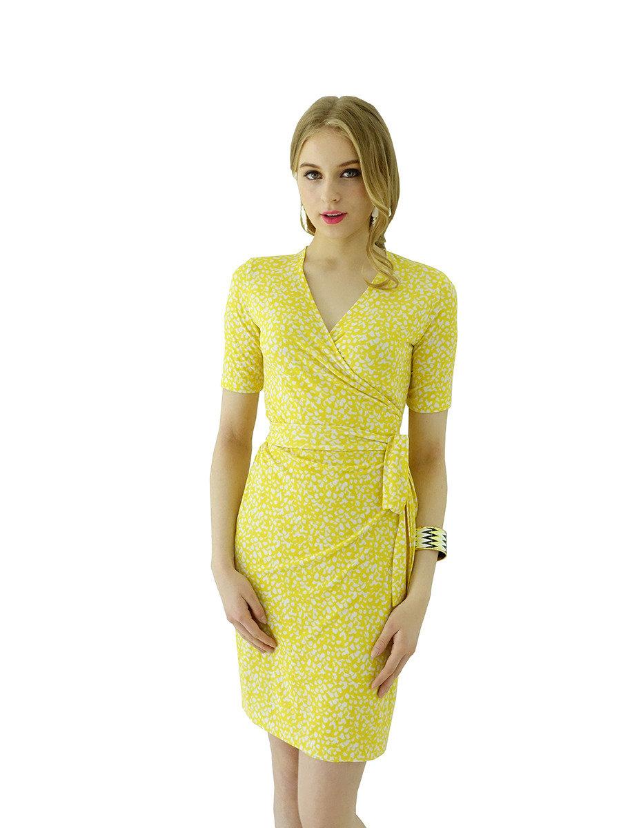 半袖裹身裙(黃色)