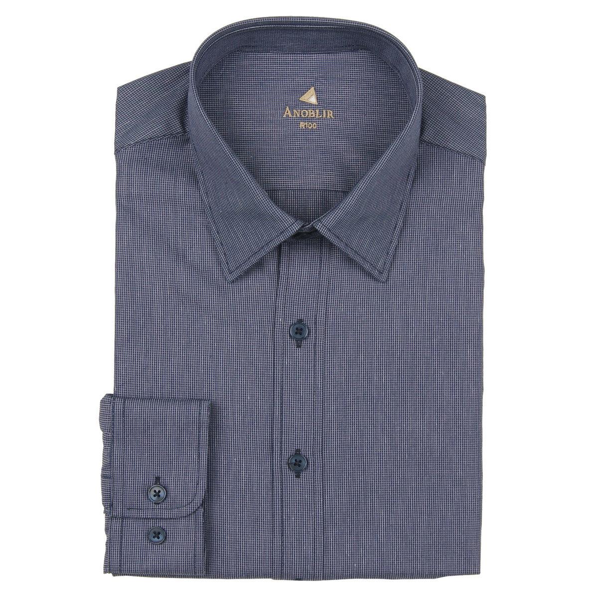 合身長袖基本領細格仔恤衫_ABS18615RNN