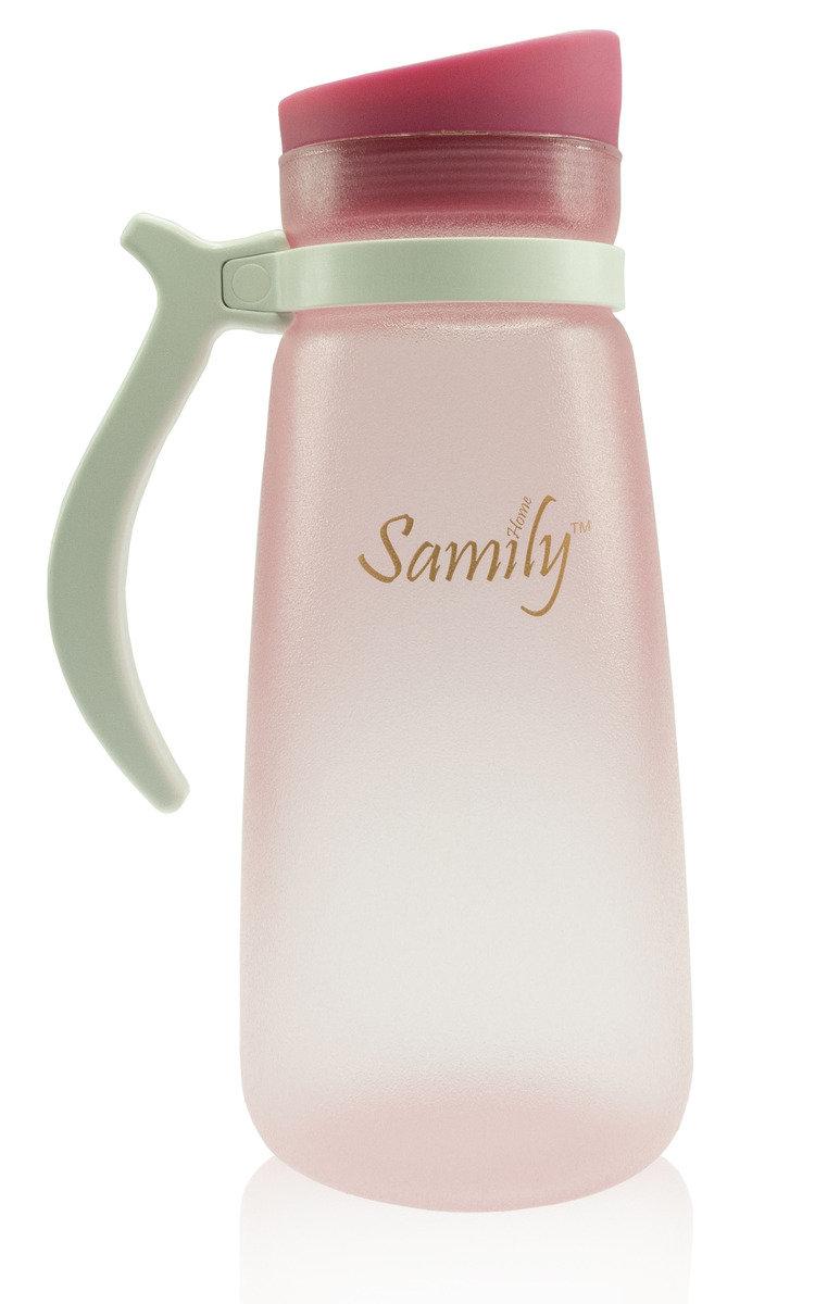 1500ml 矽膠塗層玻璃水瓶 - 粉紅色